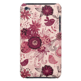 Floral pattern with cartoon birds iPod touch covers