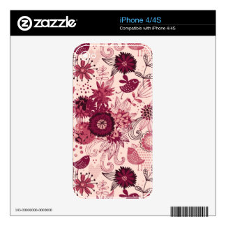 Floral pattern with cartoon birds skins for iPhone 4S