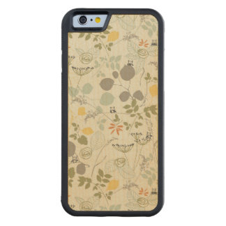 Floral Pattern with cute birds Carved Maple iPhone 6 Bumper Case
