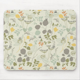 Floral Pattern with cute birds Mouse Pads