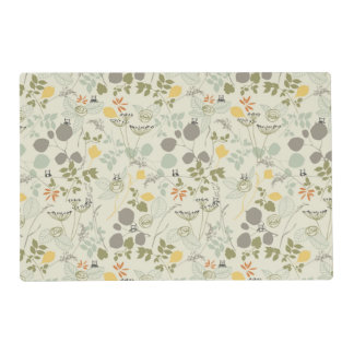 Floral Pattern with cute birds Laminated Place Mat