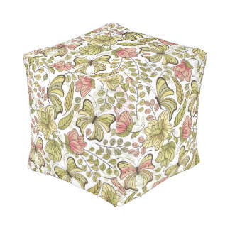floral pattern with flowers and butterflies cube pouf