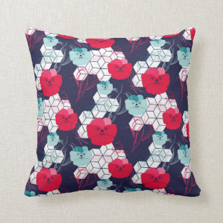 Floral pattern with geometric elements throw pillow