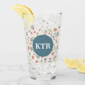 Floral Pattern with Monogram Glass Tumbler
