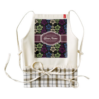 Floral Pattern with Plum Custom Name Zazzle HEART Apron