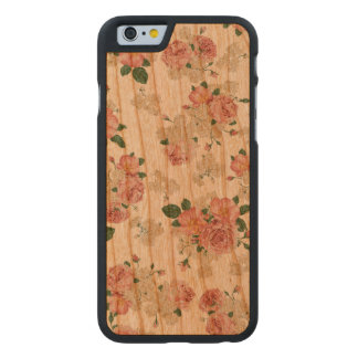 Floral pattern wooden iphone case