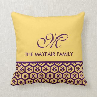 Floral Pattern Yellow Purple Family Monogram Throw Pillow