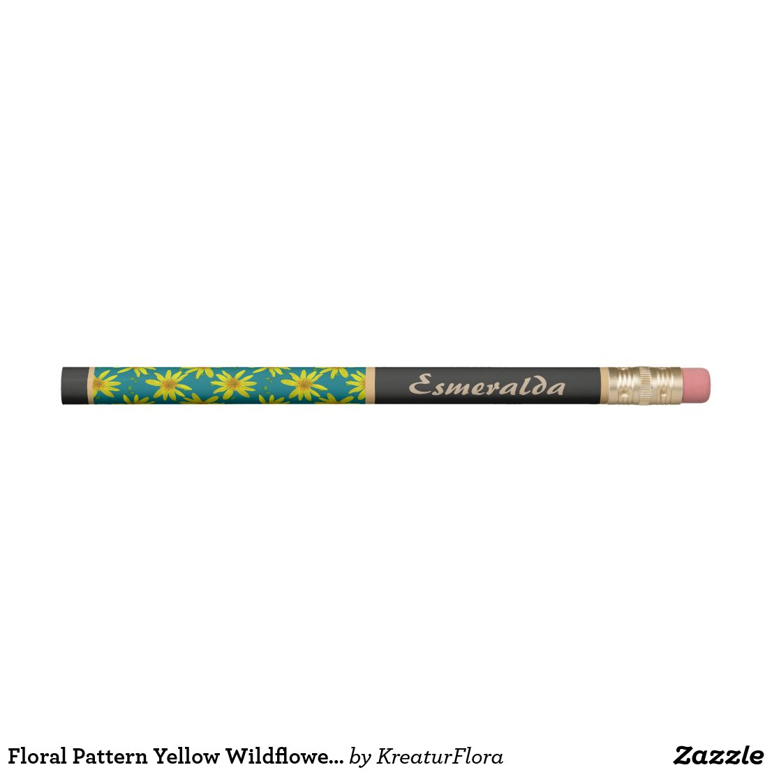 Floral Pattern Yellow Wildflower with Custom Name