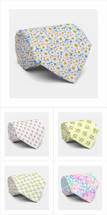 Floral Patterned Neckties