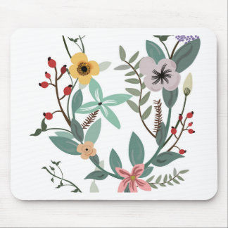 Floral patterns and eucalyptus leaves mouse pad