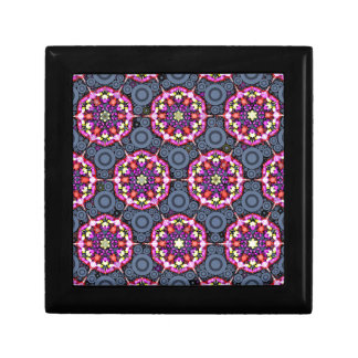 Floral Patterns and Gray Circles Jewelry Box