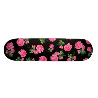 Floral patterns: pink flowers on black skateboard
