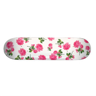 Floral patterns: pink flowers on white skateboard deck