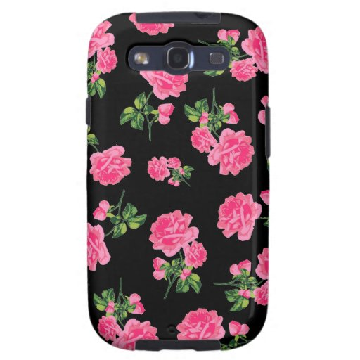 Floral patterns: Pink roses on black Samsung Galaxy S3 Covers