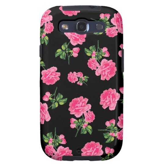 Floral patterns: Pink roses on black Samsung Galaxy SIII Cover