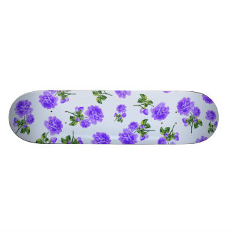 Floral patterns: purple roses on baby blue skateboard deck