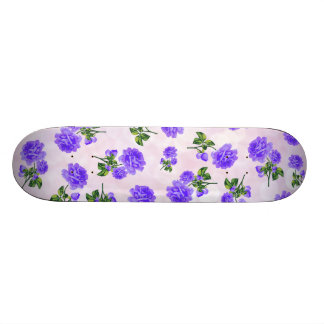 Floral patterns: purple roses on pink bokeh skateboard