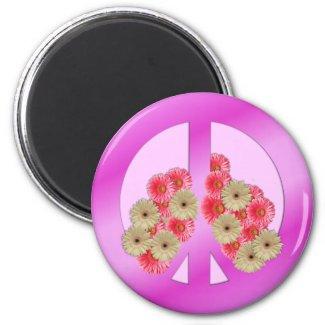Floral peace magnet