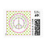 Floral Peace Sign: Birthday Party Postage