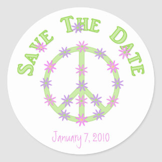 Floral Peace Sign Save The Date Stickers