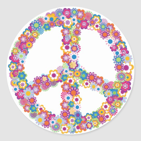Floral Peace Sign Stickers