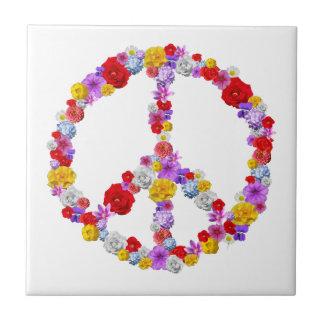 Floral Peace Sign Tile