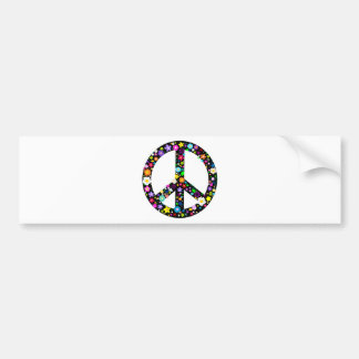 Floral Peace Symbol Car Bumper Sticker