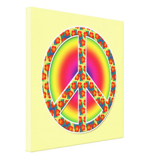 Floral Peace symbol Gallery Wrapped Canvas