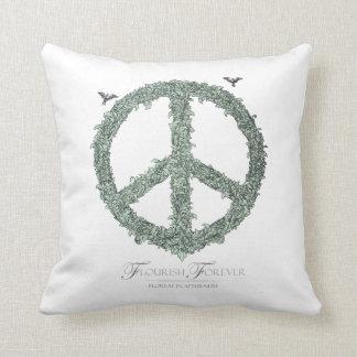 Floral Peace Symbol Flourish Forever Throw Pillow
