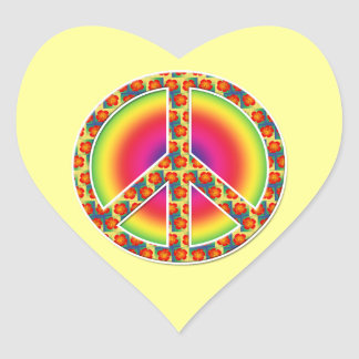 Floral Peace symbol Heart Sticker