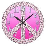 Floral Peace Symbol - No More War Theme Wall Clock