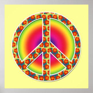 Floral Peace symbol Print