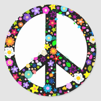 Floral Peace Symbol Round Stickers