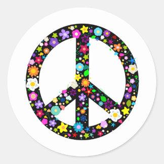 Floral Peace Symbol Sticker