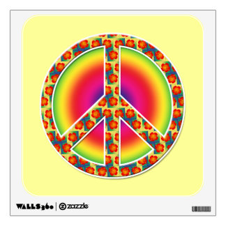 Floral Peace symbol Wall Decals