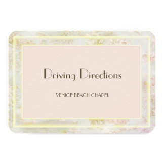 Floral Peach and Gold Driving Directions Cards