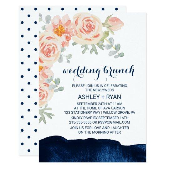 Navy And Peach Wedding Invitations: Marine Blue Coral Peach Floral Wedding Invitation