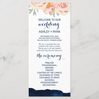 Floral Peach and Navy Watercolor Wedding Program