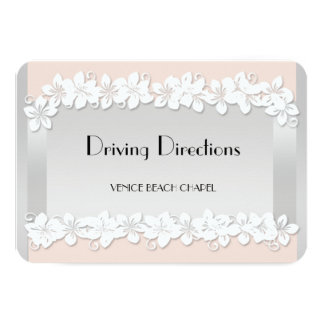 Floral Peach and Silver Driving Directions Cards