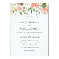Floral Peach Blush Watercolor Wedding Invitation