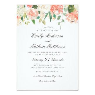 Floral Peach Blush Watercolor Wedding Invitation