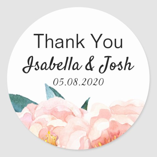 Floral Peach Peony Thank You Classic Round Sticker