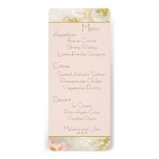 Floral Peach, Pink and Gold Wedding Reception Menu Custom Invitations