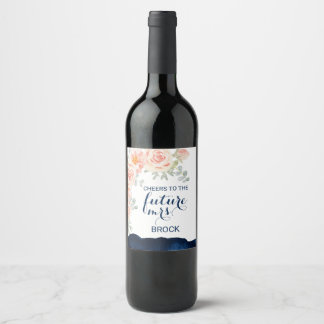 Floral Peach Pink and Navy Watercolor Future Mrs Wine Label