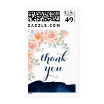 Floral Peach Pink and Navy Watercolor Thank You Postage