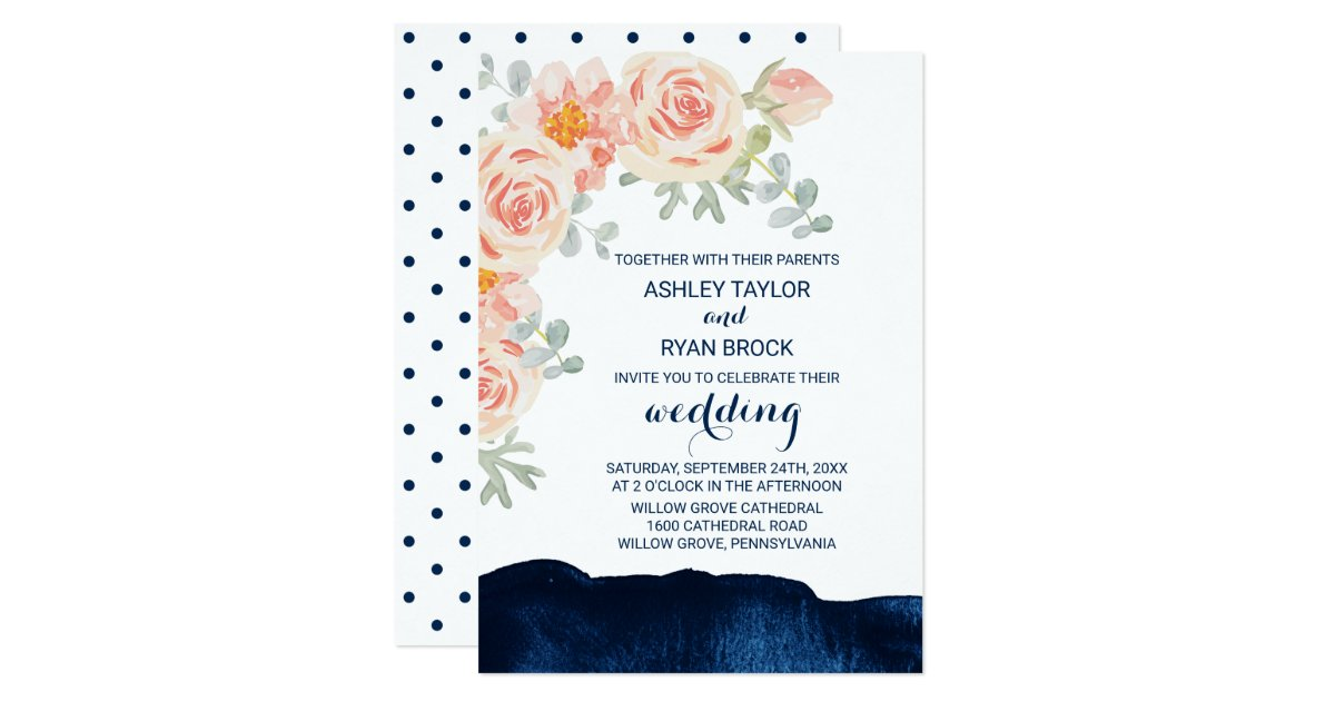 Navy And Peach Wedding Invitations: Floral Peach Pink And Navy Watercolor Wedding Invitation