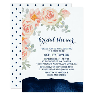 Floral Peach Pink & Navy Watercolor Bridal Shower Card