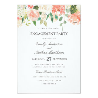Floral Peach Watercolor Wedding Engagement Party Card