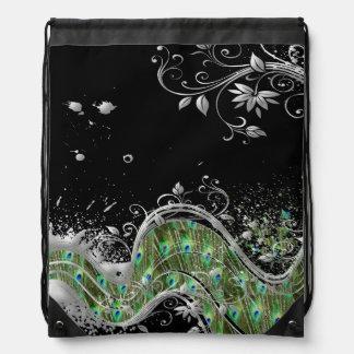 Floral Peacock Grunge Splatter Drawstring Bag