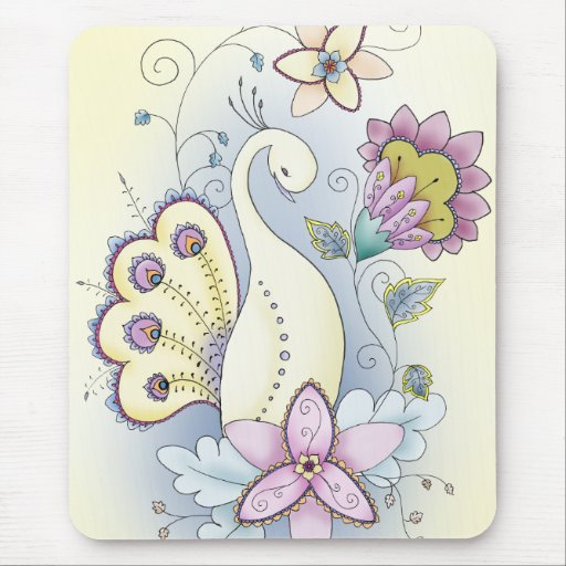 Floral Peacock Mouse Pad